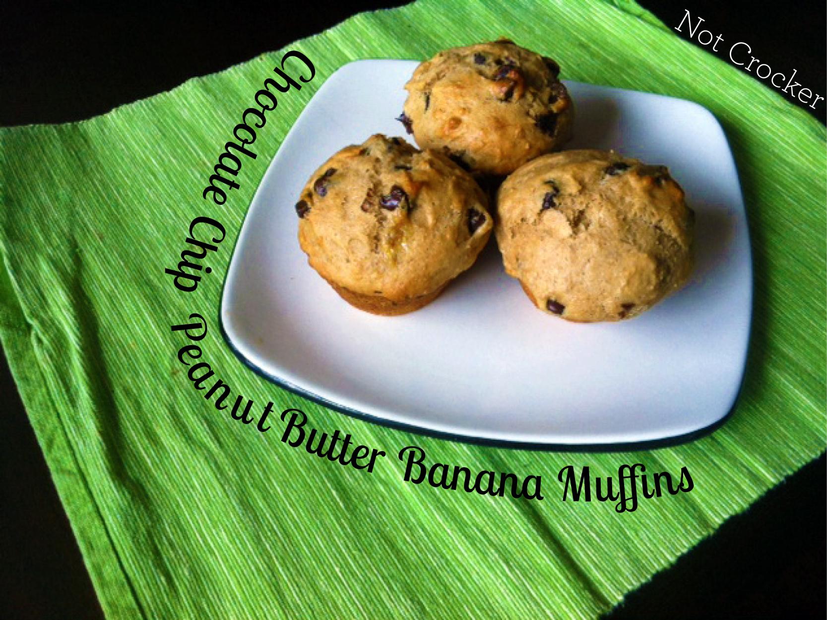 Chocolate Chip Peanut Butter Banana Muffins |